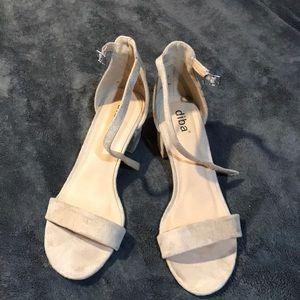 Women's size 8 cream suede like block heels